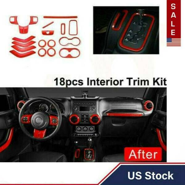 Car Interior Decoration Accessories For Jeep Wrangler JK JKU 4 Door 11-17 18PCS