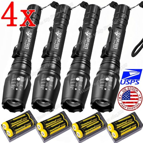 Ultrafire Zoomable Tactical 350000LM 5-Mode T6 LED 186*50 Focus Flashlight Torch