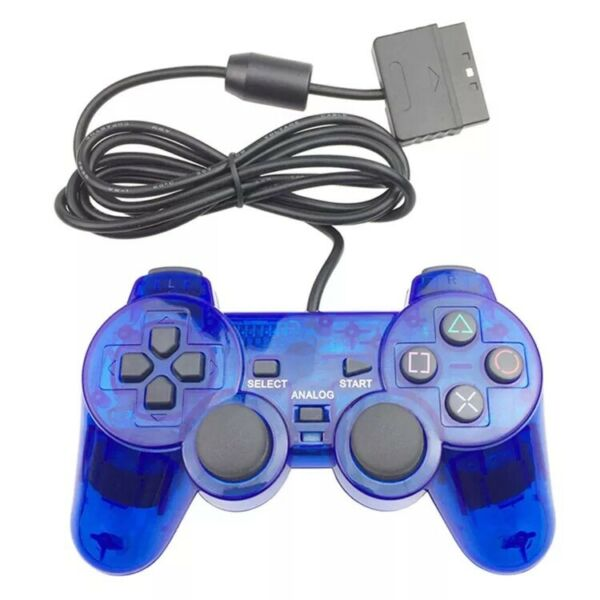 New Wired Playstation 1 amp; 2 PS1 PS2 Blue Controller US Seller Fast Shipping $12.99