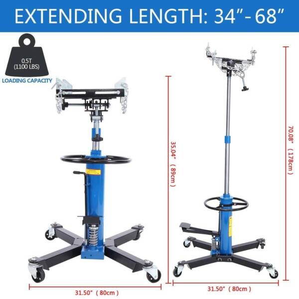 Blue 1100LBS 2 Stage Hydraulic Transmission Jack 360° Swivel Wheels Lift Hoist
