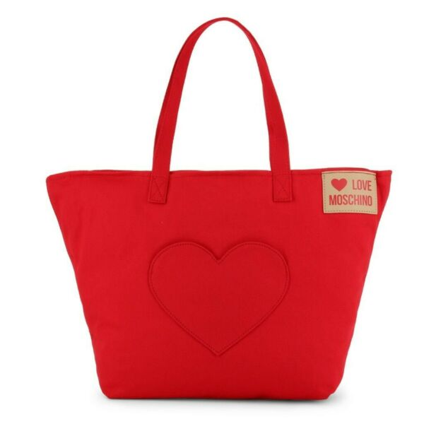Love Moschino Red Fabric Love Applique Tote NWT Retail $156 FREE SHIPPING $110.00