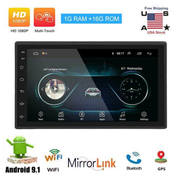 Android 8.1 Car Audio Stereo Radio 2 DIN 7inch GPS Navi MP5 Player QUAD Core $89.76