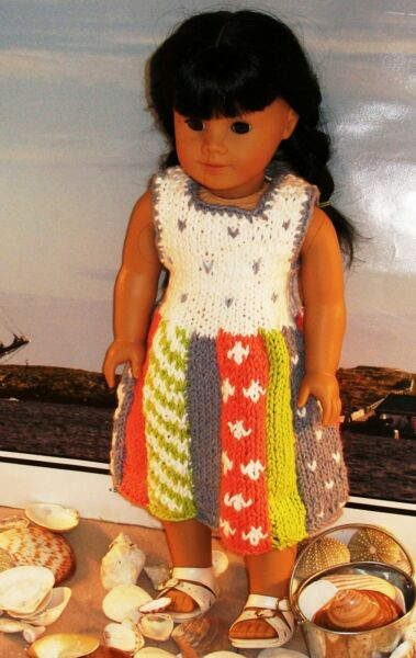 clothes for 18 in dolls hand knit beach party dress