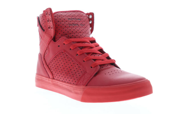 Supra Skytop 08174-666-M Mens Red Lace Up High Top Sneakers Shoes 7.5