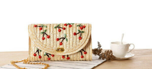 Straw Woven Envelope Clutch Purse With Cherries Red Gingham Print Lining Chain  $15.40