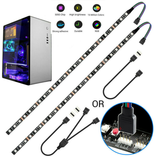 12V 5050 RGB Gaming LED Flexible Strip Light w 4pin Hub Adapter Extension Wire