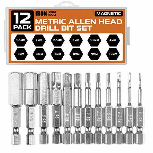 Allen Wrench Drill Bit Set of 12 SAE or Metric Hex Head Bits with Magnetic Tip