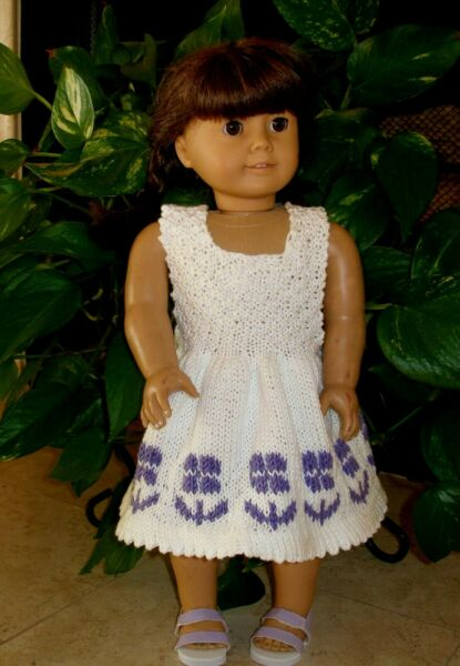 clothes for 18 in dolls hand knit summer flower dress