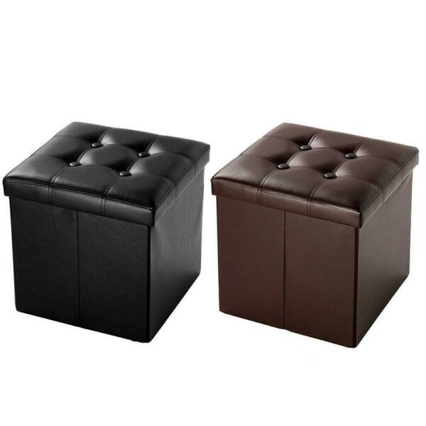 Folding Ottoman Bench Footstool Cube Box Footrest Furniture Home Storage $16.99