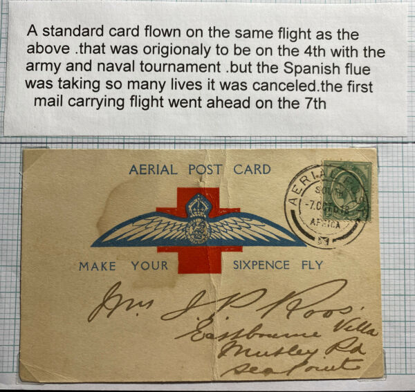 1918 South Africa First Flight Airmail Postcard cover Army & Naval Tournament