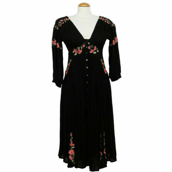 FREE PEOPLE Black Day Glow Embroidered Floral Crinkle Midi Dress XS