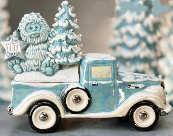 Ceramic Bisque Ready to Paint Yeti with Christmas Tree Jalopy Truck elec. incl