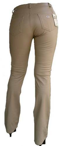 Beige Miss Sixty Model TOMMY Leather Pants Look Stretch Jeans 27 34 W27 L34 $37.84
