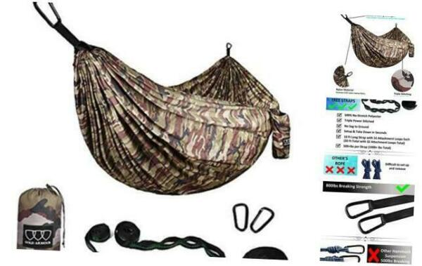Gold Armour Camping Hammock Extra Large Double Parachute Hammock 2 Tree Strap $53.14