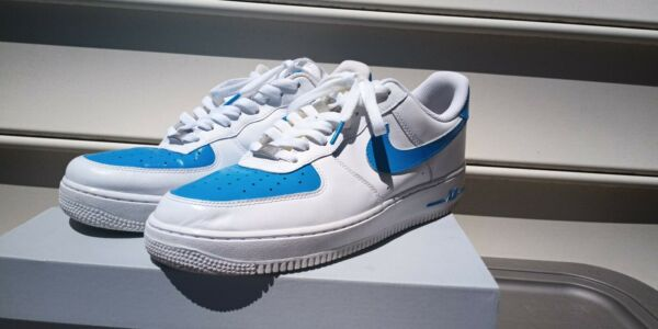 Men's Nike Air Force Ones, blue and white custom shoes size 10.5(comes with box)