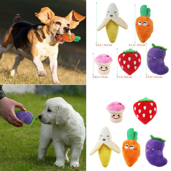 UEETEK 5Pcs Pet Puppy Chew Squeaky Plush Fruits and Vegetables Dog Toys US $8.79