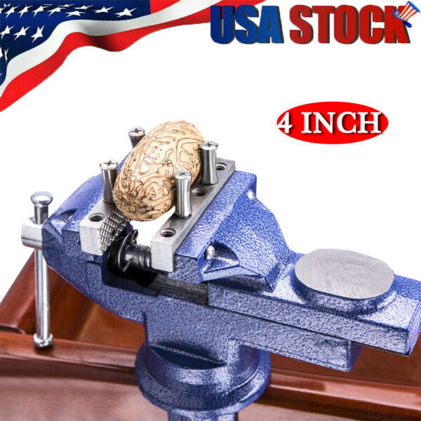 4quot; Bench Vise with Anvil Swivel Locking Base Table top Clamp Heavy Duty Vice