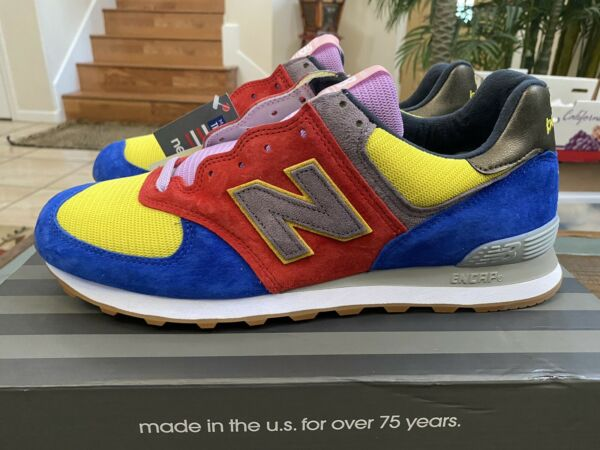 New Balance US574M1 Made In USA Mens 13D Blue/Grey/Red/Yellow/ Purple Suede NIB