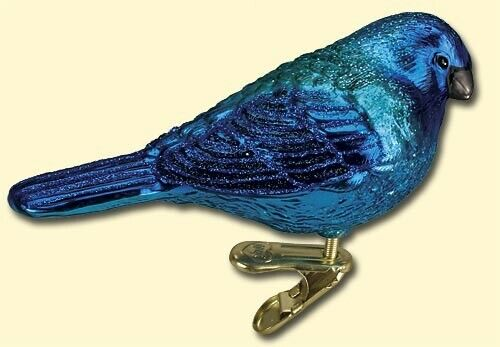 INDIGO BUNTING BLUE CLIP ON BIRD OLD WORLD CHRISTMAS GLASS ORNAMENT NWT 18079