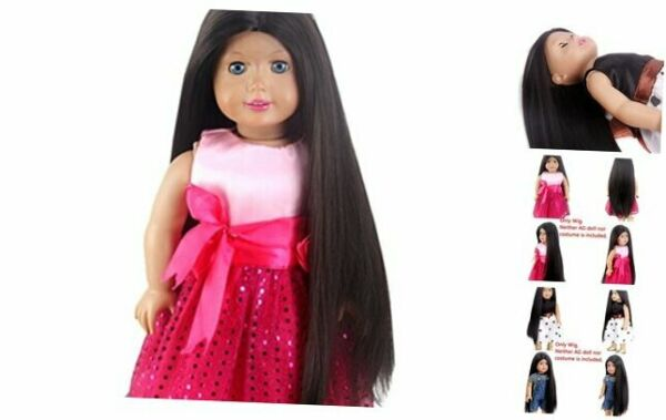 STfantasy Doll Wig for 18 Inches Doll Girls Gift Black Brown Long Straight Synth