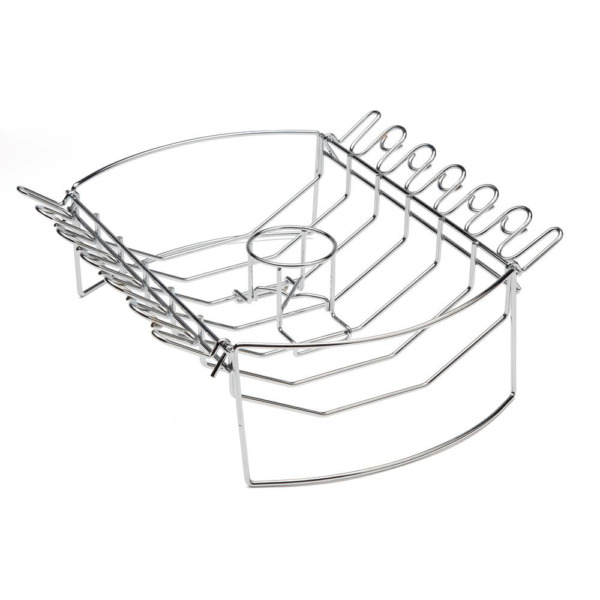 CUISINART Steel BBQ Grill Basket Rib Roast Beer Can Checking Wing Grilling Rack