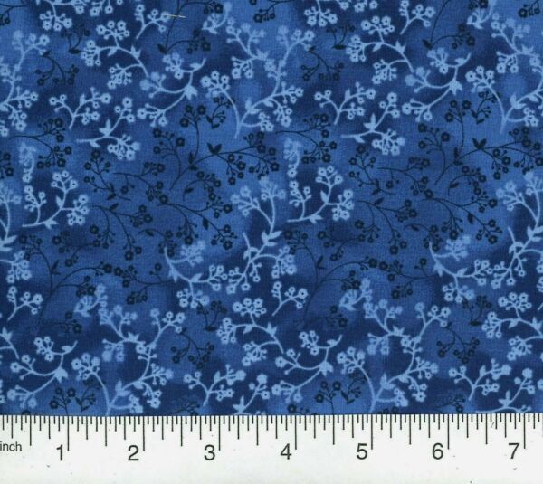 12 Yd Floral Quilt Fabric Calico Razzle Dazzle Flowers on Navy