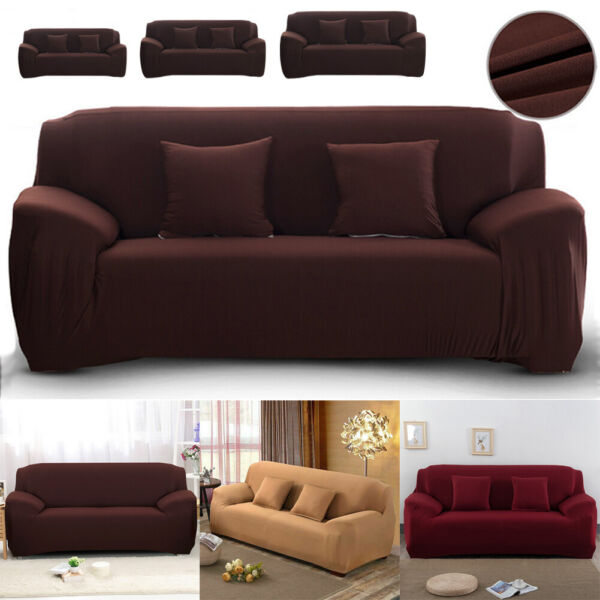 2 3 4 Seater Sofa Cover Stretch Solid Color Couch Slipcover Loveseat Living Room $23.55
