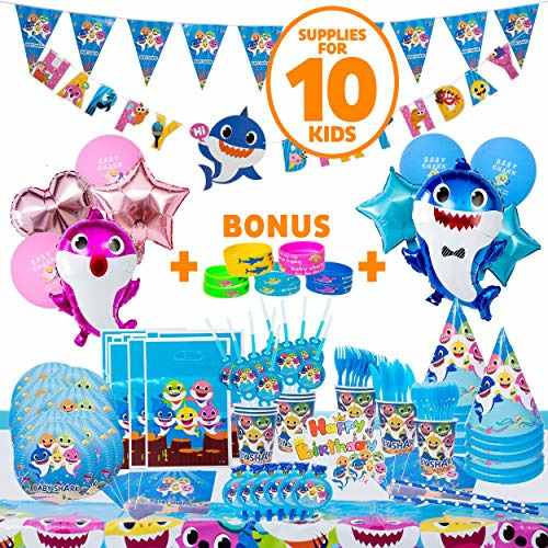 Baby Shark Party Supplies 109 Pieces Baby Shark Birthday Decorations for 10 Fun