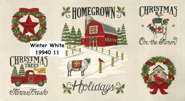 MODA Homegrown Holidays 100% cotton fabric Panel approx 24 x 44 red truck white