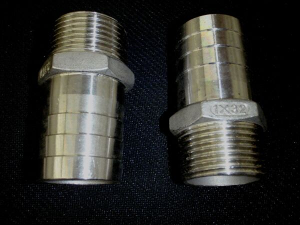 HB100125 STAINLESS STEEL HOSE BARB 1quot; NPT PIPE 1 1 4quot; HOSE