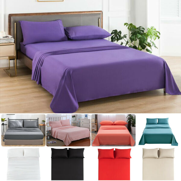MOHAP Full Queen King Size Bed Sheet Set Flat Fitted Sheet Pillowcase Breathable $24.99