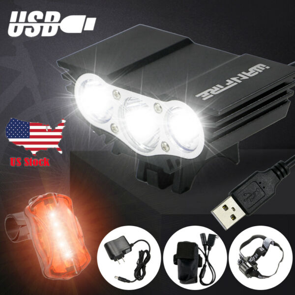 Rechargeable T6 Mountain Bike Lights Bicycle Torch Front amp;Rear Lamp Set US $20.89
