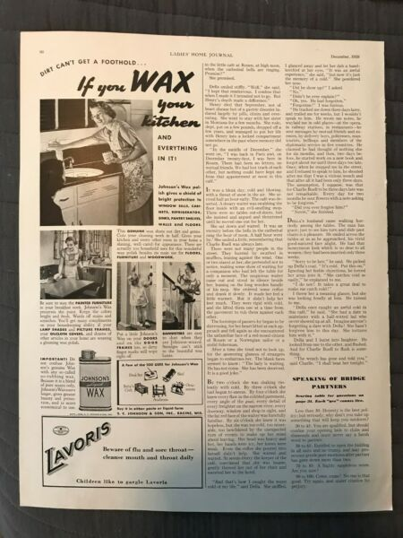 Lavoris~Johnson's~Liquid~Wax~Kitchen~Furniture~Women~1938 Vintage Print AD A19 $9.99