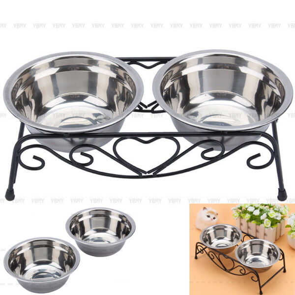 Double Bowl Dog Cat Feeder Elevated Stand Raised Dish Feeding Food Water Pet US $13.54