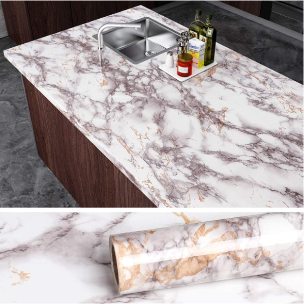 VEELIKE Grey Marble Contact Paper Counter Top Covers Peel and Stick Wallpaper