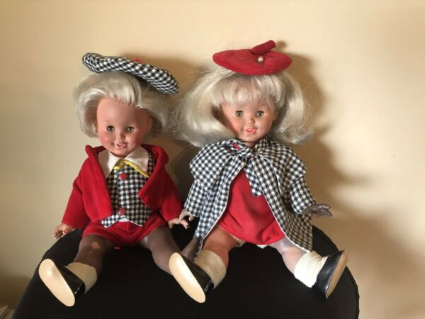 Pair Of Two Vintage Urga Dolls Made In Italy 10 Inches With Teeth Showing.