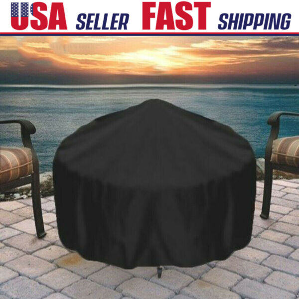 30quot; Round Black Fire Pit Cover Waterproof UV Protector Grill BBQ Patio Cover USA