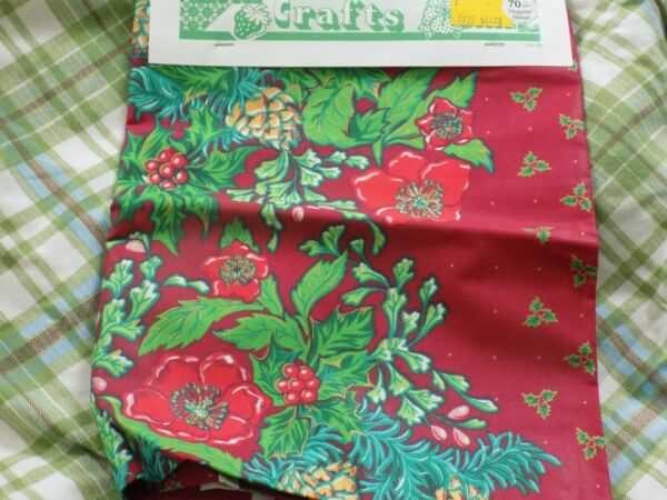 Hancock Fabric Christmas Hostess Apron Kit Red with Floral Design New