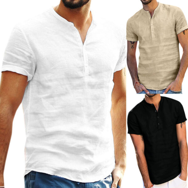Mens Casual Short Sleeve Linen Shirt Blouse Loose Henley V Neck Tops T Shirts