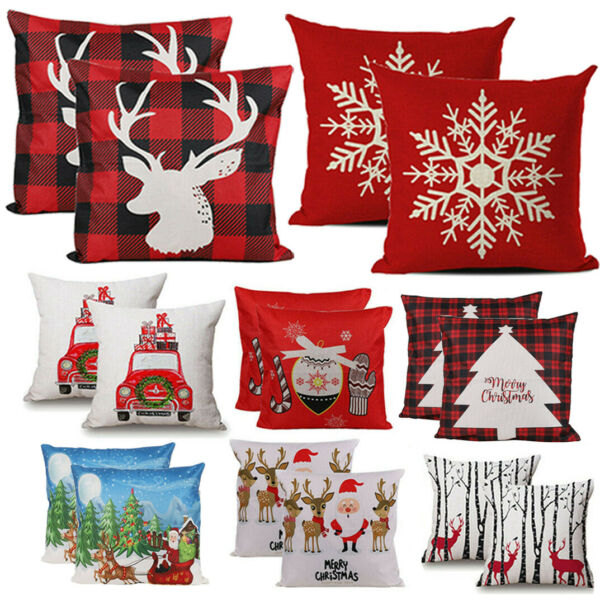 2X Christmas Decoration Pillow Covers Xmas Buffalo Plaid Reindeer Sofa Couch Bed $6.92