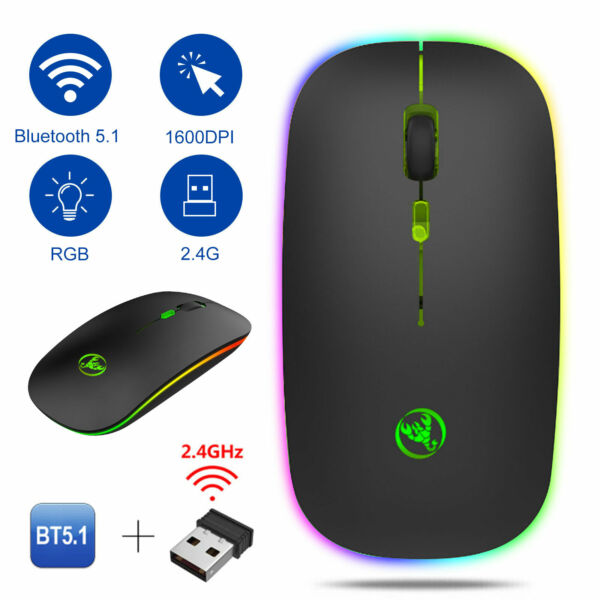 Bluetooth Rechargeable Wireless Silent LED Backlit USB Optical Gaming Mouse Mice