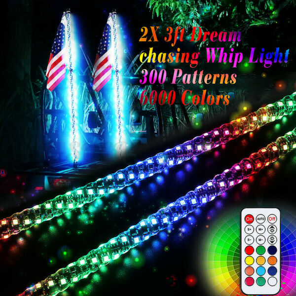 2X 3ft chasing Light Spiral LED Whip Antenna w/Flag&Remote 300 Mode 6000 Colors