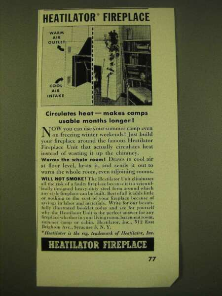 1950 Heatilator Fireplace Ad Circulates heat makes camps useable months