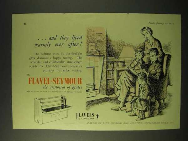 1955 Flavel Seymour Gas Grates Ad and they lived warmly ever after