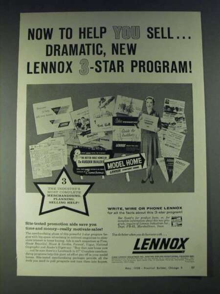 1958 Lennox Heat and Air Conditioning Ad Now to help you sell $16.99