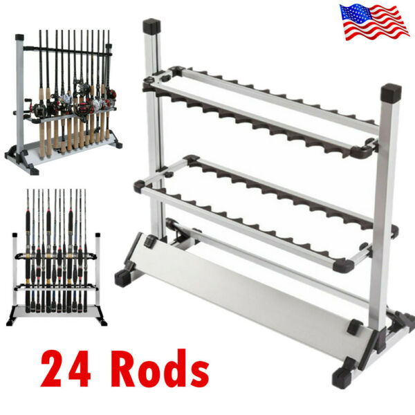24 Rods Aluminum Alloy Portable Rack Fishing Rod Pole Holder Stand Storage Tool $34.65