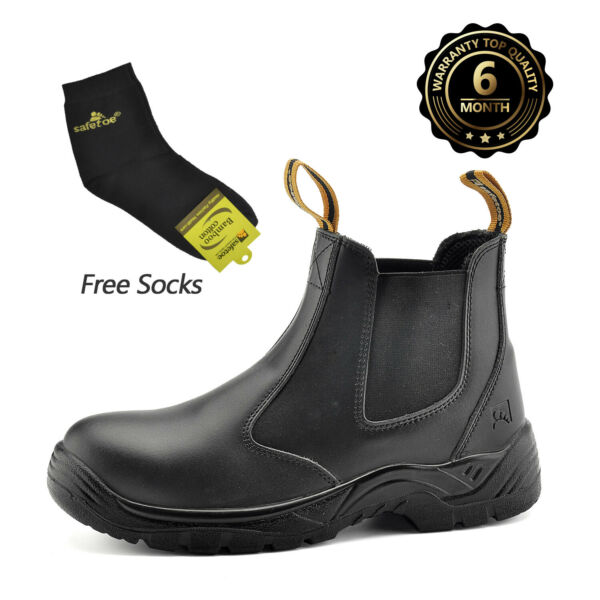 Safety Boots Men Work Shoes Leather Steel Toe Water Resistant Breathable Slip on