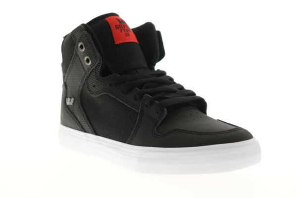 Supra Vaider 08204 039 M Mens Black Leather Surf High Top Skate Sneakers Shoes