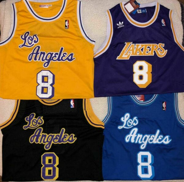 NWT #8 KOBE BRYANT Los Angeles Lakers PurpleBlueGoldBLACK Throwback Jersey
