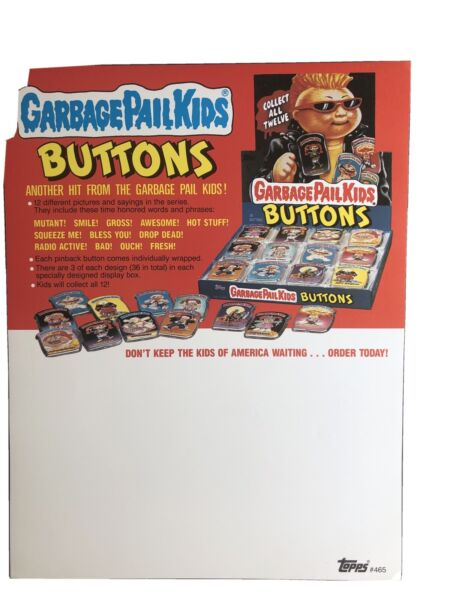 Topps 1986 Garbage Pail Kids Buttons Dealer Ad Sheet Nice Condition